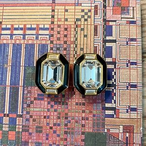 Trifari Rhinestone & Crystal Enamel Clip Earrings